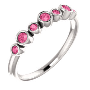 Genuine Pink Tourmaline Bezel Set Ring