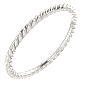 Sterling Silver Skinny Rope Band Ring