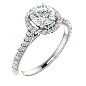 14K White 6.5mm Round Forever One™ Moissanite & 1/3 CTW Diamond Engagement Ring