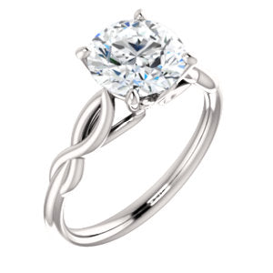 14K White 8mm Round Forever One™ Moissanite Engagement Ring