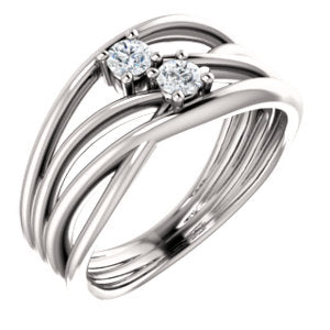 Two Stone Round Forever One™ Moissanite Ring