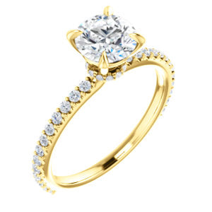 14K Yellow 6.5mm Round Forever One™ Moissanite & 1/3 CTW Diamond Engagement Ring
