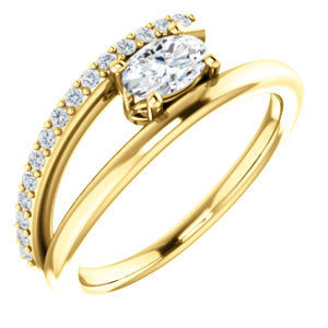 14K Yellow 6x4mm Oval Forever One™ Moissanite & 1/8 CTW Diamond Ring
