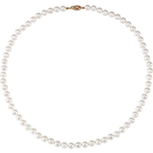 14K Yellow 6-6.5mm Akoya Cultured Pearl 18