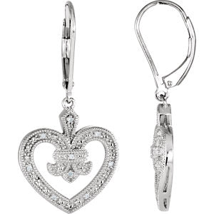 Sterling Silver  Diamond Heart Lever Back Earrings