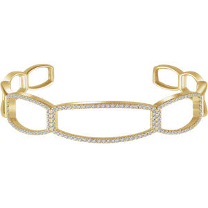 14K Yellow 3/4 CTW Diamond Cuff 6 1/4