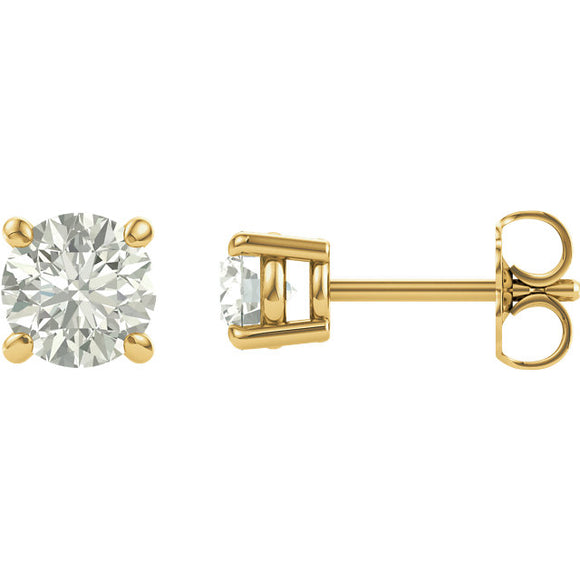Charles & Colvard Moissanite®  Round Solitair  - 4 Prong Stud Earrings