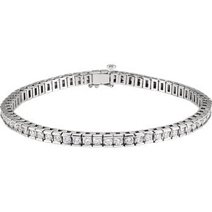 "14K White 4 CTW Diamond Line 7.25"" Bracelet"