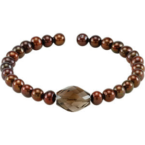 Copper Freshwater Cultured Pearl & Smoky Quartz Bracelet