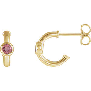 14K Yellow Pink Tourmaline J-Hoop Earrings