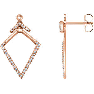 14K Rose 1/4 CTW Geometric Diamond Earrings