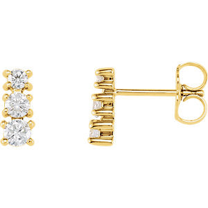 14K Yellow 1/4 CTW Diamond Three-Stone Earrings