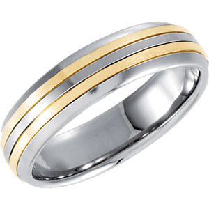 5.5mm Stainless Steel Domed Band with 18K Yellow Inlay
