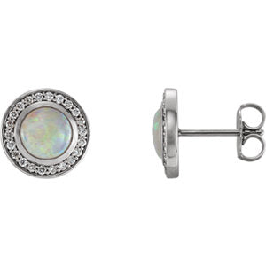 14K 6mm Opal & 1/5 CTW Diamond Halo-Style Earrings