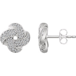 14K White 1/3 CTW Diamond Knot Earrings