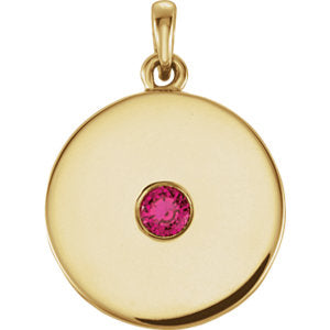 14K Yellow Ruby Disc Pendant