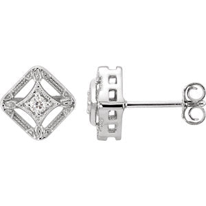 14K White .075 CTW Diamond Filigree Earrings