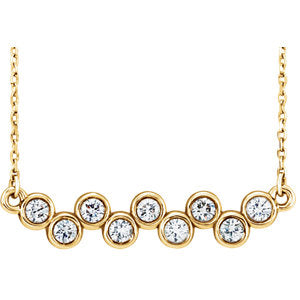 14K Yellow 2.5mm Round Forever One™ Moissanite Necklace