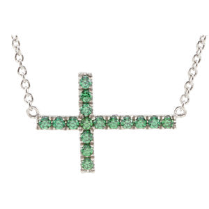 Sterling Silver Green Cubic Zirconia Sideways Cross 18