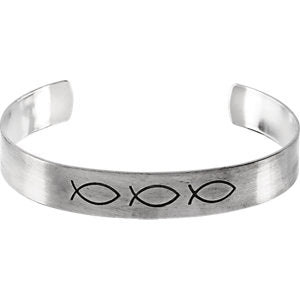 Sterling Silver 9.5mm Antiqued Ichthus Cuff Bracelet