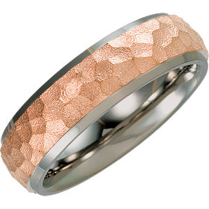 Titanium & 14K Rose Immerse Plated 7mm Hammered Finish Beveled Edge Band Size 6.5