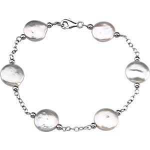 Sterling Silver 12-13mm Freshwater Cultured White Coin Pearl Station 7.5