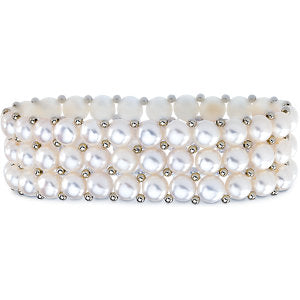 Sterling Silver Freshwater Cultured White Pearl 3 Row Stretch Bracelet