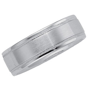 10K White 6.25mm Milgrain Comfort Fit Band