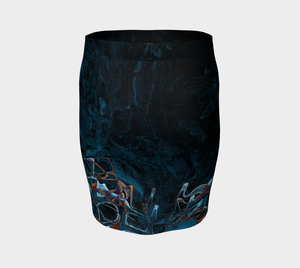 Fitted Skirt - Abstract Attack - Blue Black - Daily Art Fixx