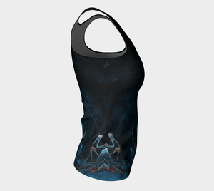 Fitted Tank - Abstract Attack - Blue Black - Daily Art Fixx