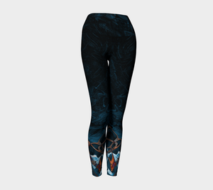 Yoga Leggings - Abstract Attack - Blue Black - Daily Art Fixx