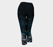 Yoga Capri - Abstract Attack - Blue Black - Daily Art Fixx