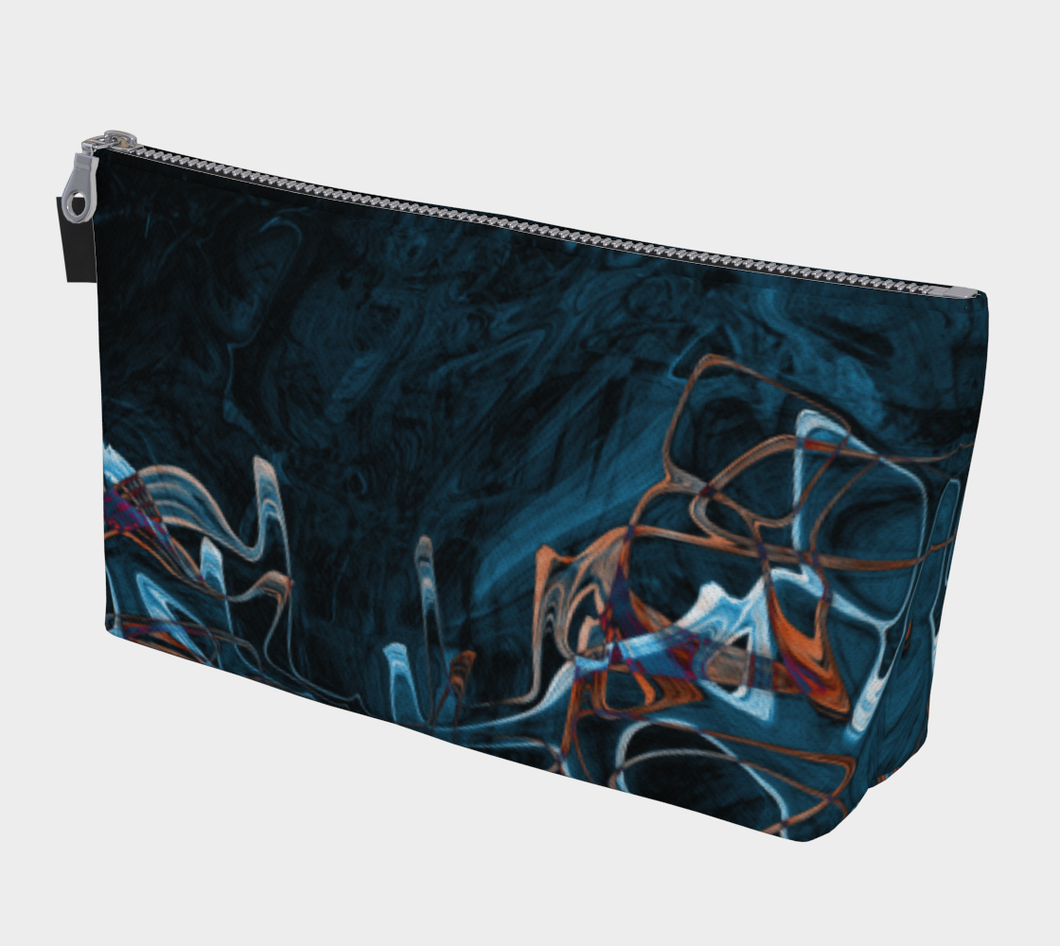 Make-Up / Travel Bag - Abstract Attack - Blue Black - Daily Art Fixx