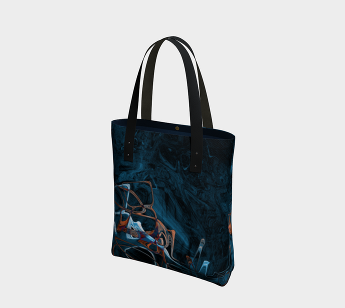 Canvas Tote - Abstract Attack - Blue Black - Daily Art Fixx