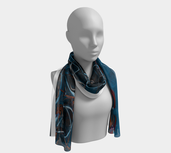 Long Scarf - Abstract Attack - Blue Black - Daily Art Fixx