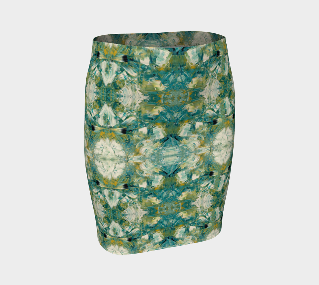 Fitted Skirt - Abstract Attack - Green - Daily Art Fixx