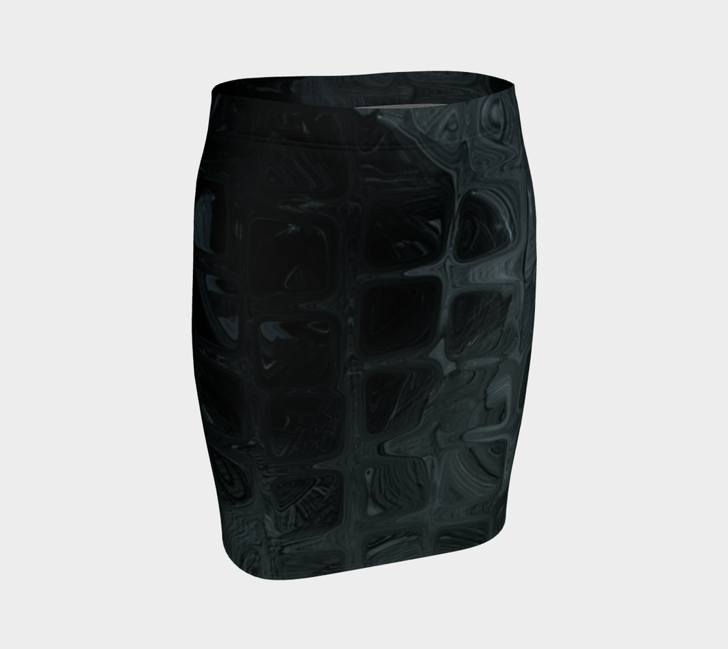 Fitted Skirt - Abstract Attack - Black - Daily Art Fixx