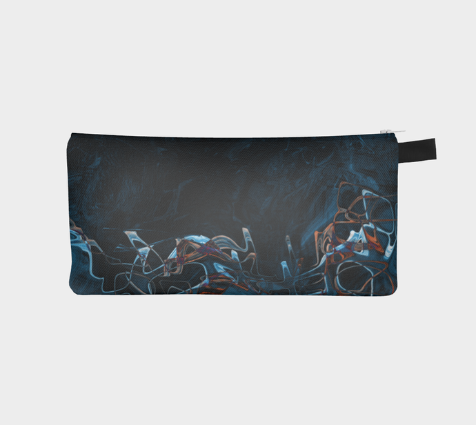 Pencil Case / Clutch - Abstract Attack - Blue Black - Daily Art Fixx