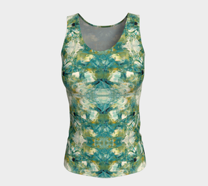 Fitted Tank Top (Long Fit) - Abstract Attack - Green - Daily Art Fixx