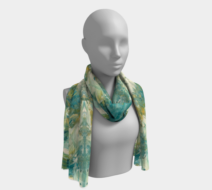 Long Scarf - Abstract Attack - Green - Daily Art Fixx