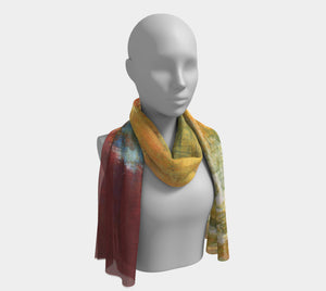 Long Scarf - Red Grunge - Daily Art Fixx