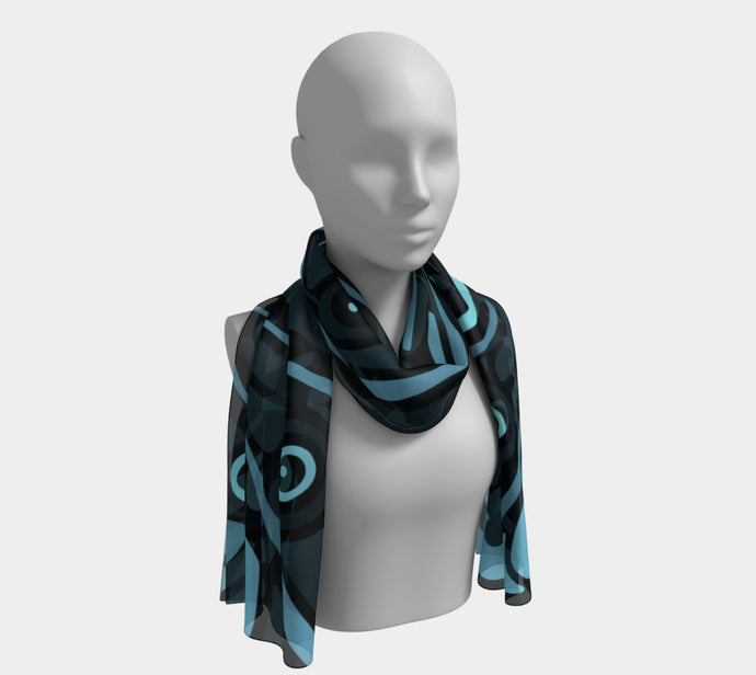 Long Scarf - Bird Abstract Blue - Daily Art Fixx