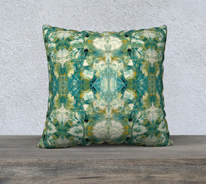 "22"" x 22"" Pillow Case - Abstract Attack - Green - Daily Art Fixx"