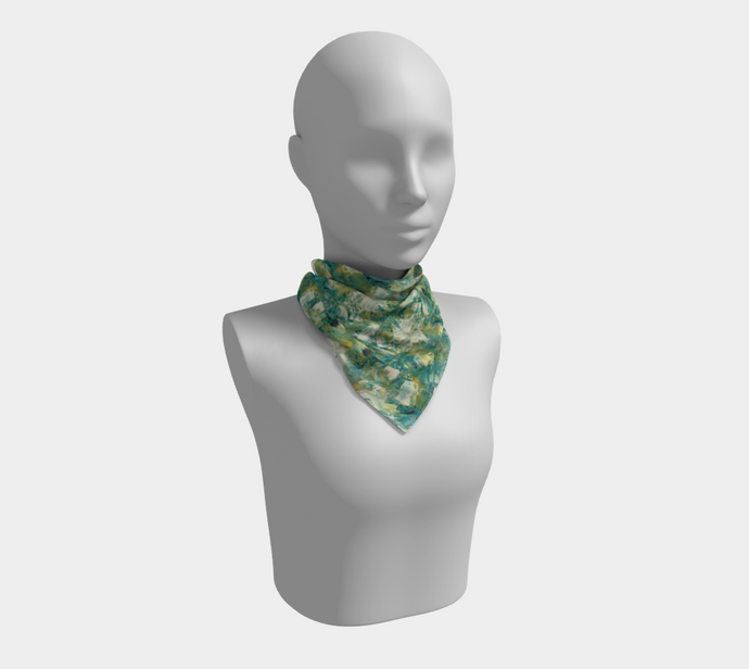 Square Scarf - Abstract Attack - Green - Daily Art Fixx