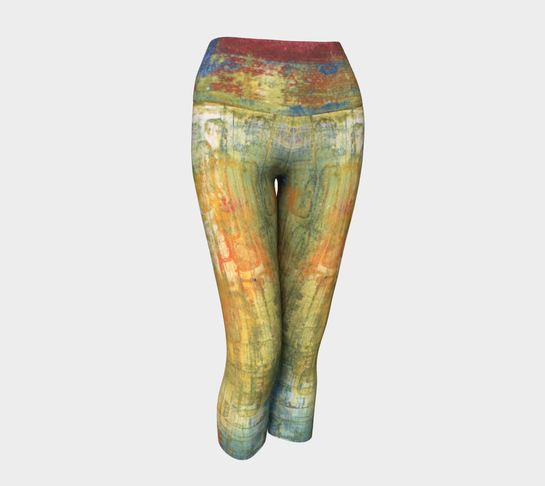 Yoga Capri - Red Grunge - Daily Art Fixx