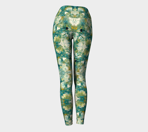 Yoga Leggings - Abstract Attack - Green - Daily Art Fixx