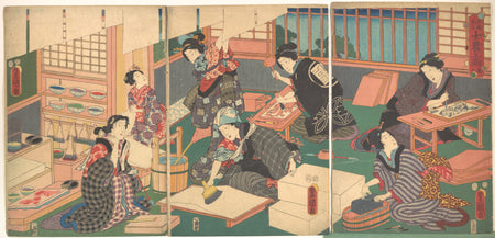 Utagawa Kunisada 1786–1864 - Artisans - tryptich showing Japanese color woodblosk prints being made - museum collection