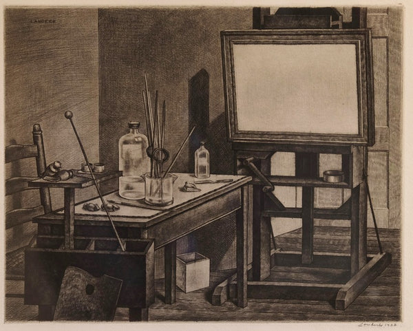 Armin Landeck - Studio Interior 2 - 1936 - Drypoint - Kraeft & Kraeft 58 - David Kabakoff Collection