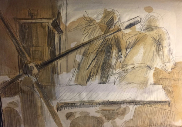 Drawing by Gil Cowley: At the Acid Tray at Atelier 17