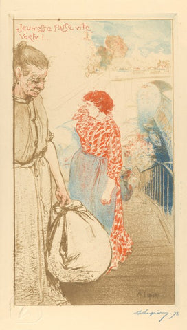 Auguste-Louis Lepere - Blanchisseuse - Jeunesse passe vite - Laundresses - Washerwomen - Estampe Originale